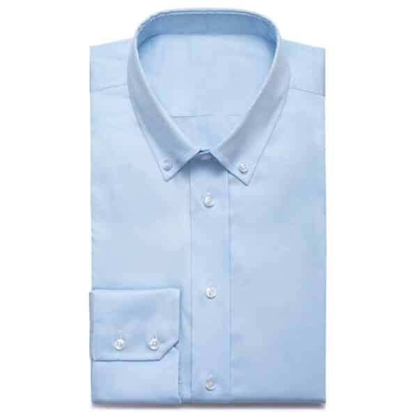 Hellblaues Maßhemd mit Button-down-Kragen