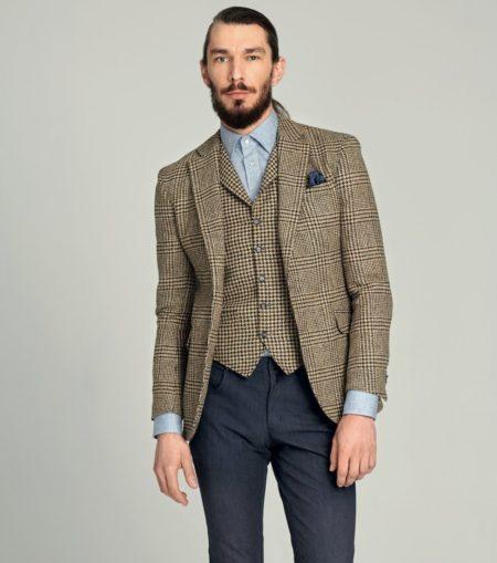 Tweed-Sakko und Tweed-Weste