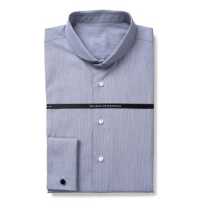 Hellblaues Business-Maßhemd mit rundem Kragen