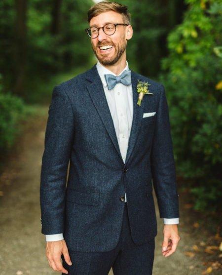 Hochzeitsanzug aus blauem Tweed