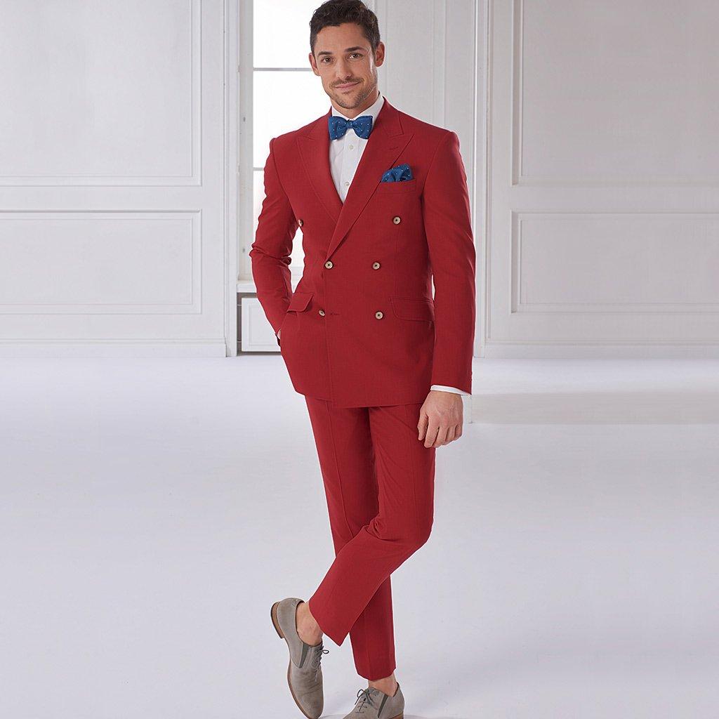 Roter Zweireiher als Hochzeitsanzug