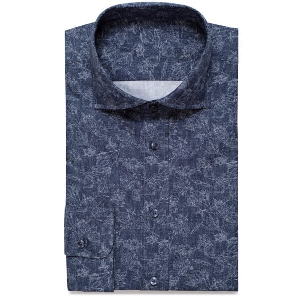Dunkelblaues Hemd mit floralem Muster