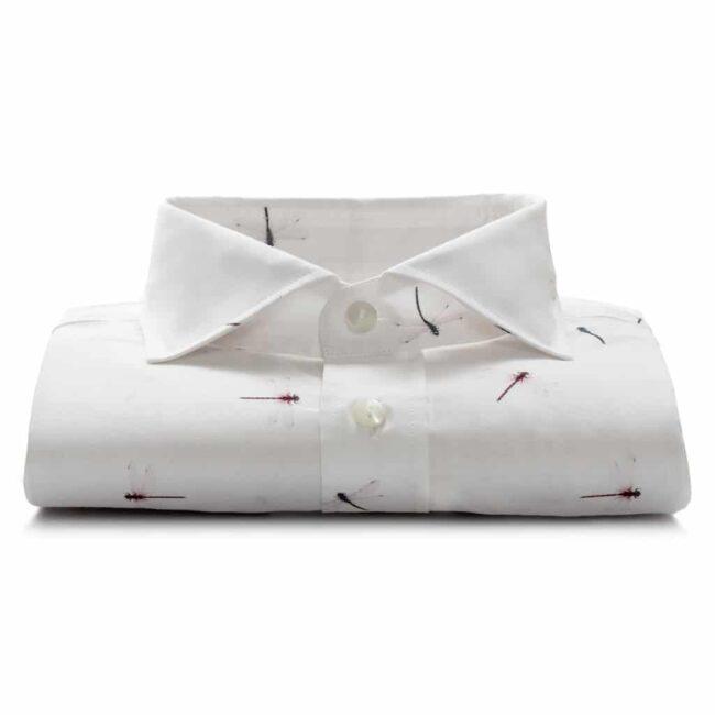 Weißes Maßhemd mit witzigem Printmuster
