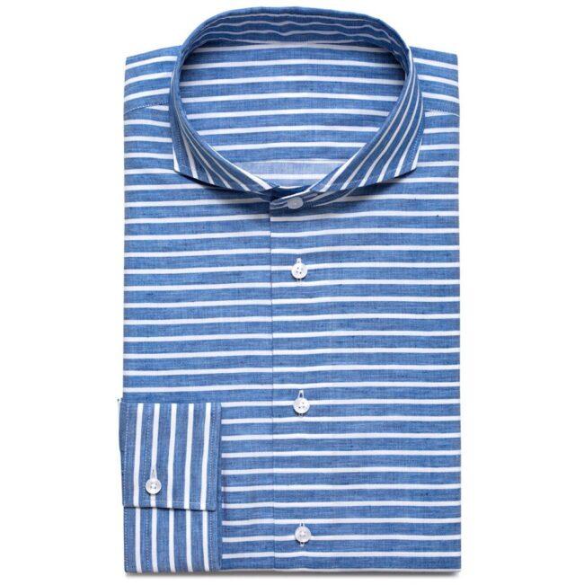 Businesshemd mit blau-weißen Querstreifen