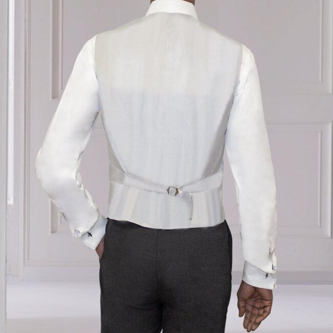 Weste Cut Outfit Silber Grau seidig Schurwolle Rücken
