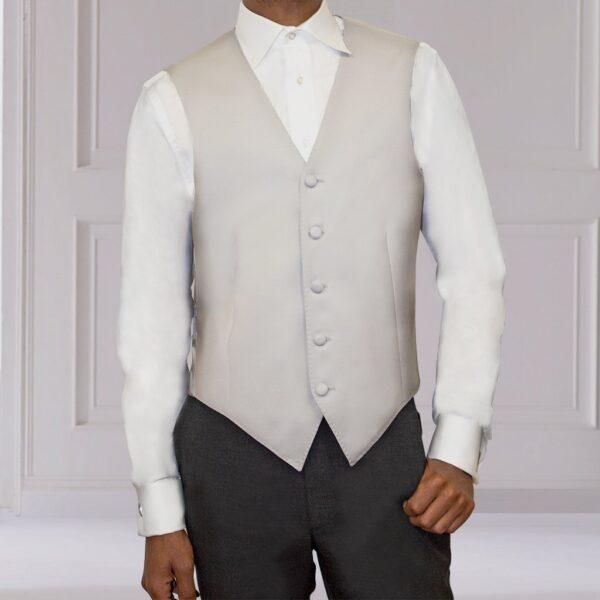 Weste Cut Outfit Silber Grau seidig Schurwolle