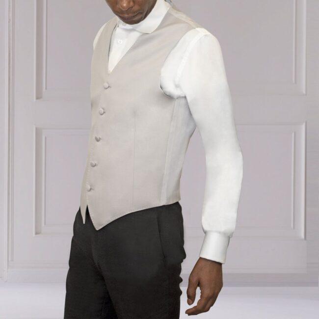 Weste Cut Outfit Silber Grau seidig Schurwolle Seite