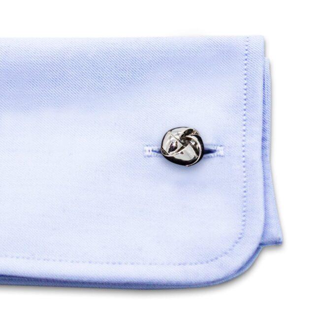 Manschettenknöpfe klassisch silber Edelstahl Knoten breit