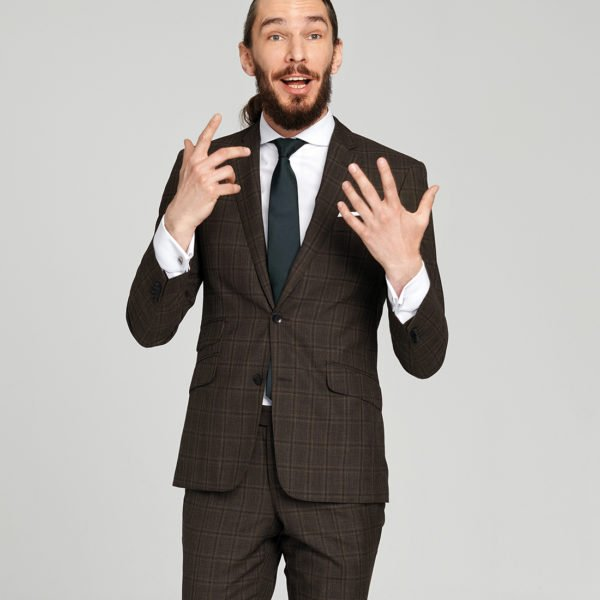 Brauner Business-Maßanzug mit Glencheck-Muster