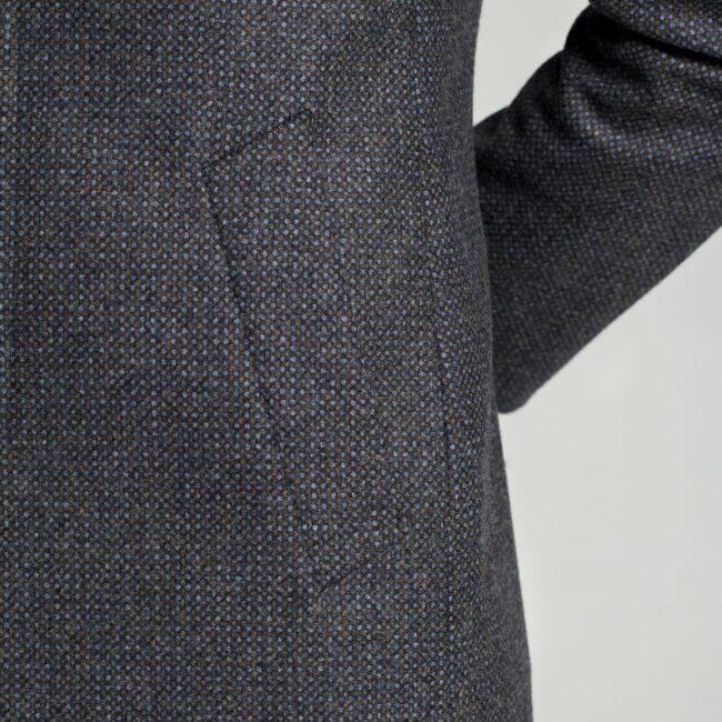 Mantel nach Maß Kurzmantel dunkelgrau Tasche
