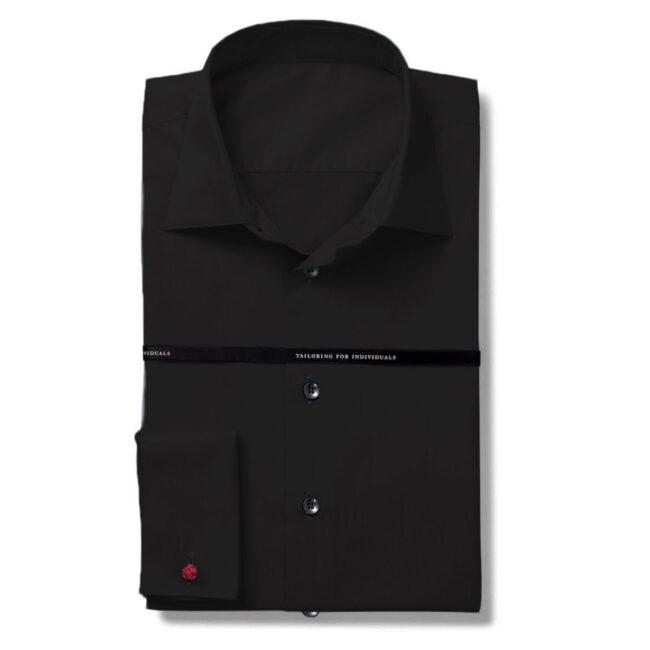 Mileta Twill Bauwoll Hemd schwarz