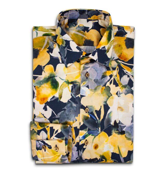 Blumen dunkel   Sommerhemd mit tropisch-blauem Muster