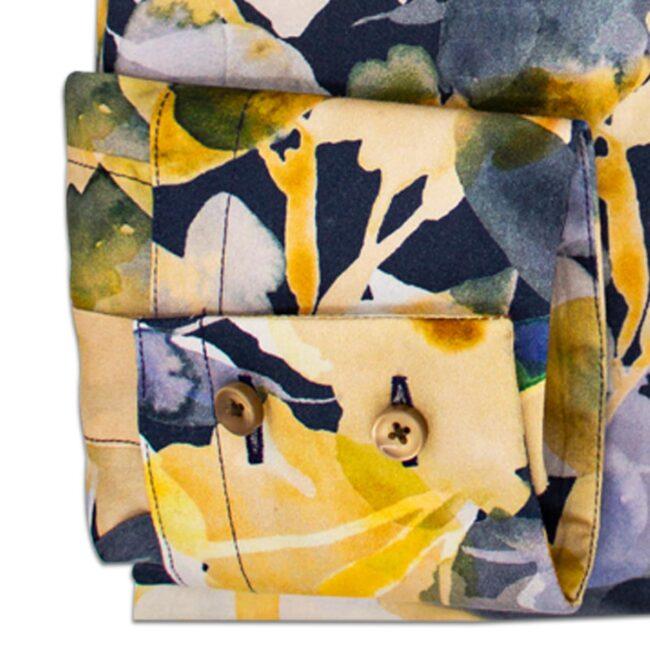 Blumen dunkel manschette   Sommerhemd mit tropisch-blauem Muster