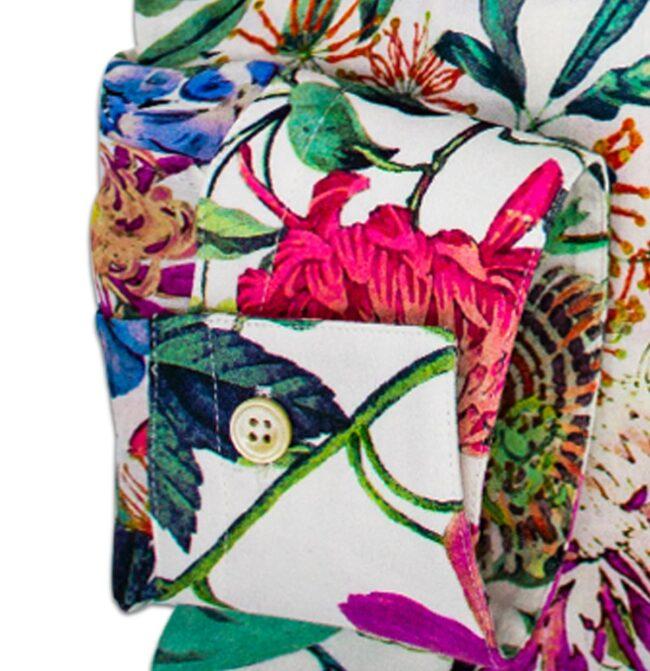 Blumen1 manschette | Sommerhemd mit tropischem Muster