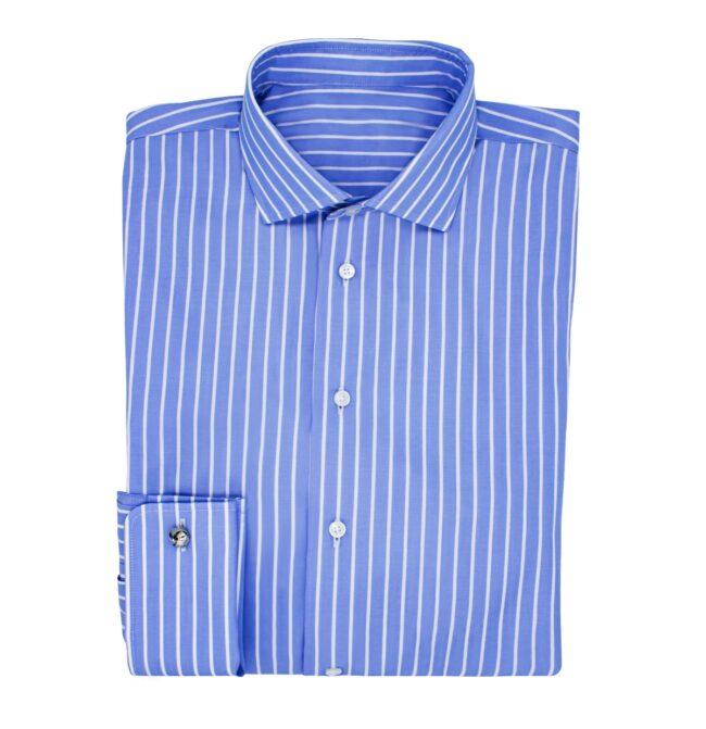 Gestreift blau | Blaues Businesshemd mit weißen Streifen