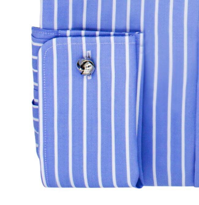 Gestreift blau manschette | Blaues Businesshemd mit weißen Streifen