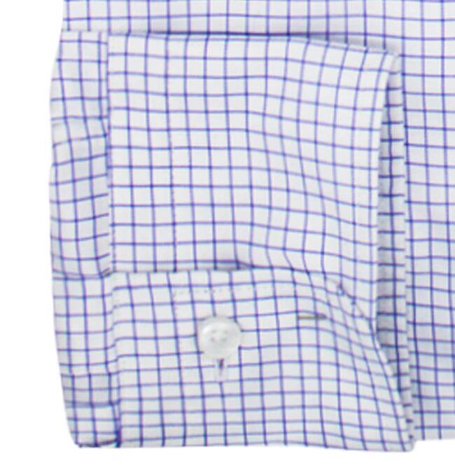 KB04 Kariert manschette 1 | Businesshemd mit blauem Gittermuster