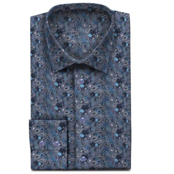 Blaues Sommerhemd Paisley Muster
