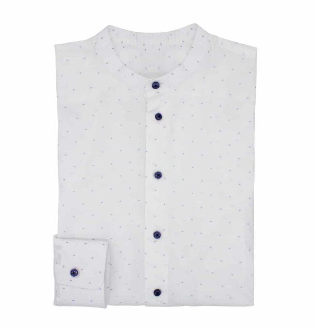 punkte | Stehkragen-Hemd mit hellblauen Würfeln