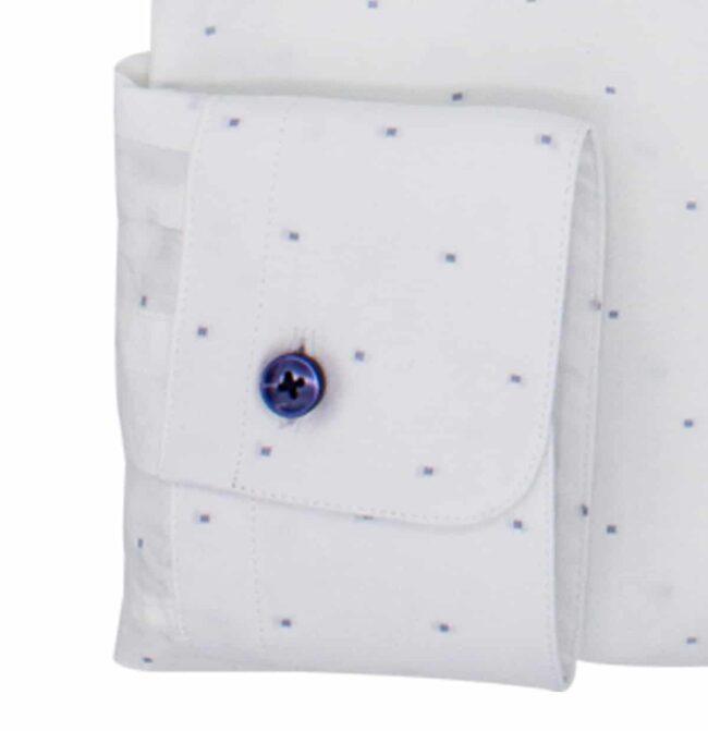 punkte manschette | Stehkragen-Hemd mit hellblauen Würfeln