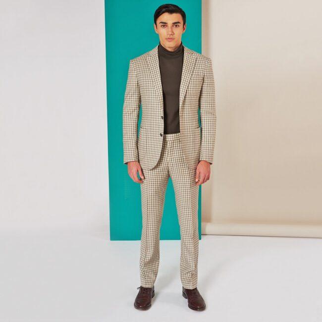 A Beige Gingham full   Exklusiver, Nachhaltiger Anzug aus ungebleichter Wolle