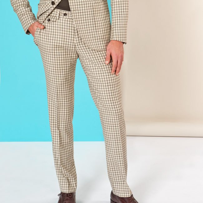A Beige Gingham pants   Exklusiver, Nachhaltiger Anzug aus ungebleichter Wolle