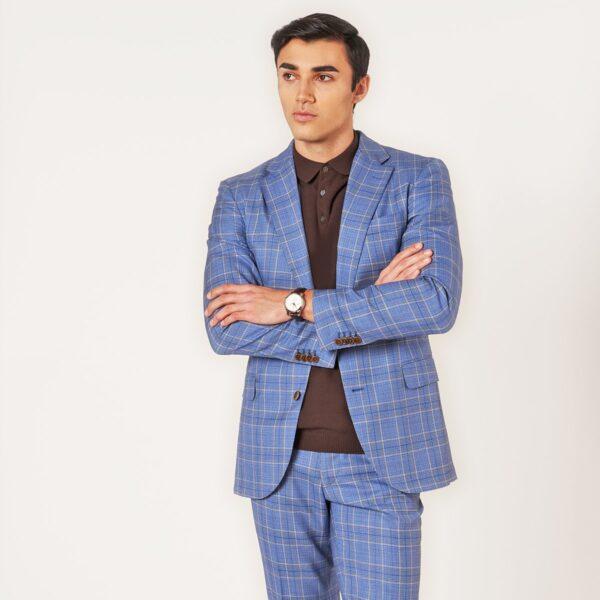 Blauer Anzug mit Glencheck