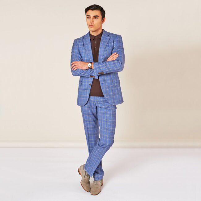 A Blau kariert full | Blauer Anzug mit Glencheck Muster