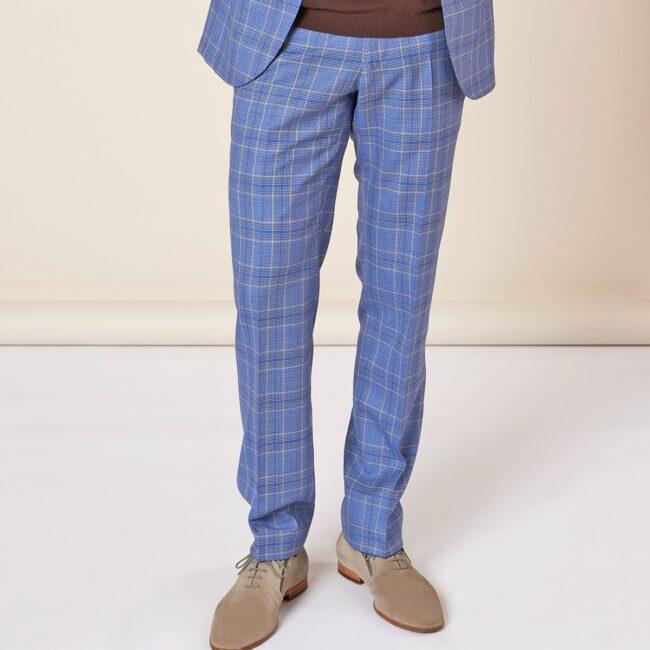 A Blau kariert full pants | Blauer Anzug mit Glencheck Muster
