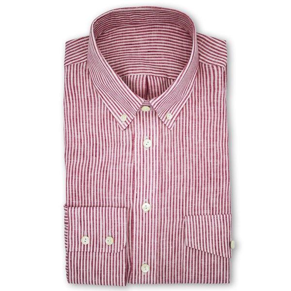 LP06 NSI3039 Hemd | Rot weiß gestreiftes Leinenhemd
