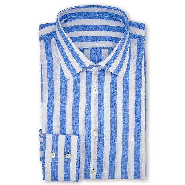 LP06 NSI3045 Hemd - Seemannslook: blau weißes Leinenhemd mit Aloevera
