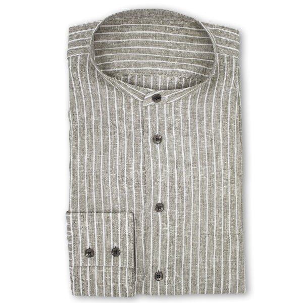 LP06 NSI3051 Hemd   Graues Aloevera Leinenhemd mit Nadelstreifen