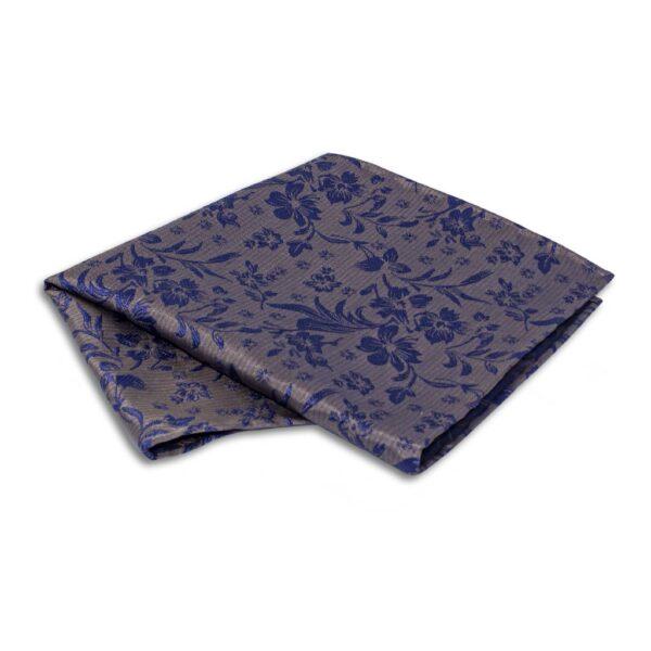 Einstecktuch mit Blumen blau auf braun
