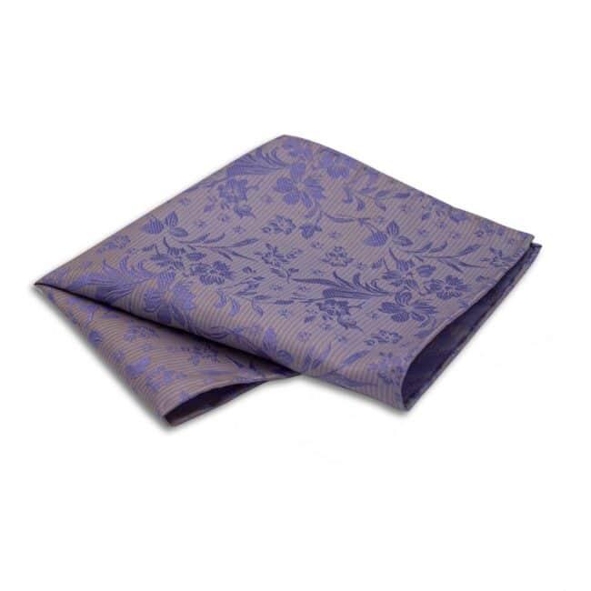 Einstecktuch metallic lila blumen