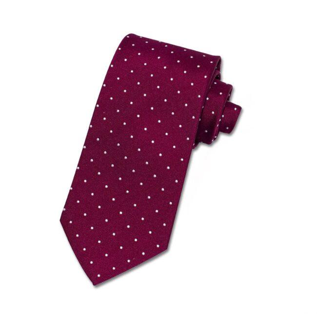 Krawatte bordeaux white dots
