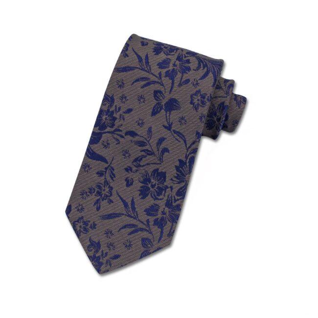 Krawatte braun blaue blumen | Krawatte mit Blumen blau auf braun