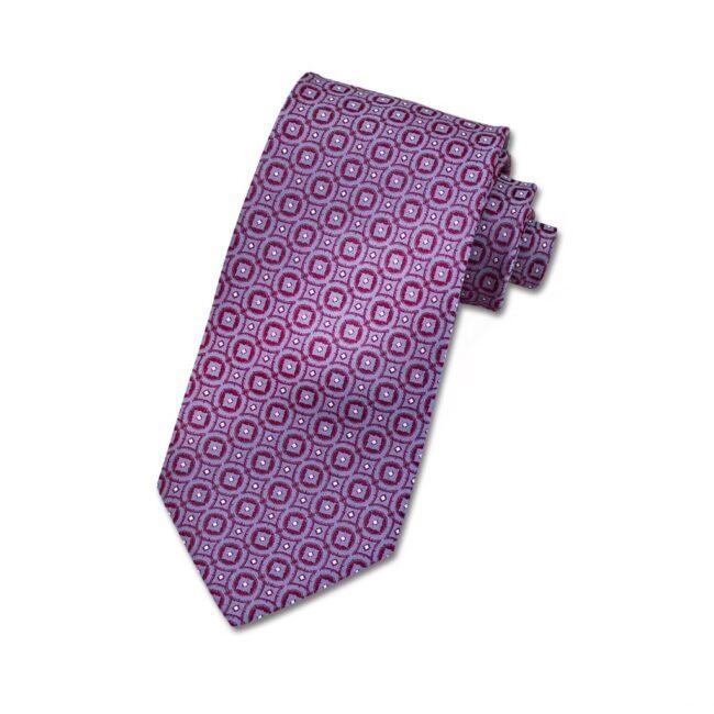 Krawatte lila metallic kaleidoskop | Krawatte mit Kreisen lila auf rot
