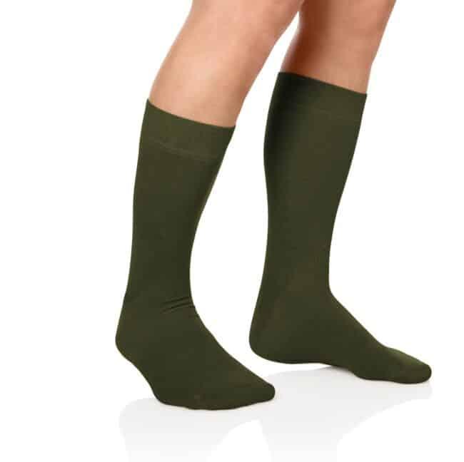 Socken Lanza Fuss Oliv | Baumwollsocken olivgrün