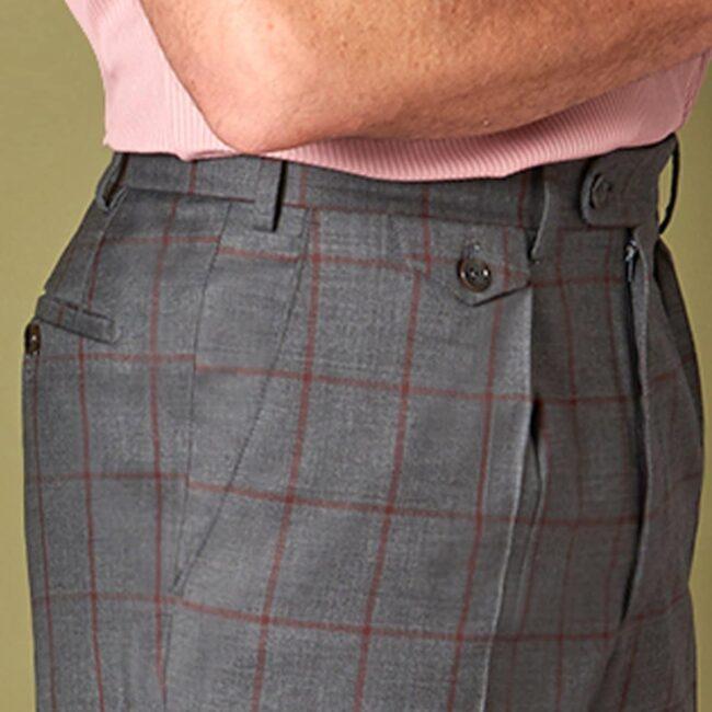Karohose 7 Carnet Side Pocket - Country Office - Rotbraune Karohose