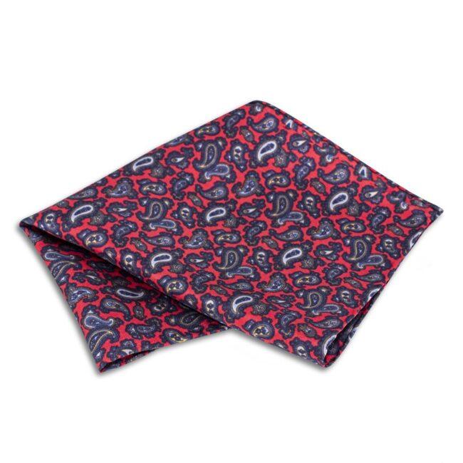Einstecktuch paisley rot - Einstecktuch mit rotem Paisleymuster