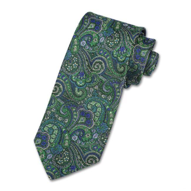Krawatte paisley gruen | Krawatte mit grünem Paisleymuster